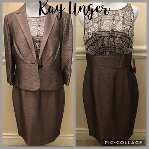 NWT! Kay Unger bronze dress blazer 2 pieces set 10
